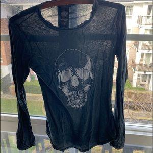 Distressed ARITZIA black skull long sleeve shirt S